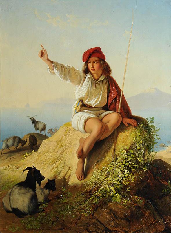 Неаполитанский пастушок на берегу моря, освещённый восходящим солнцем