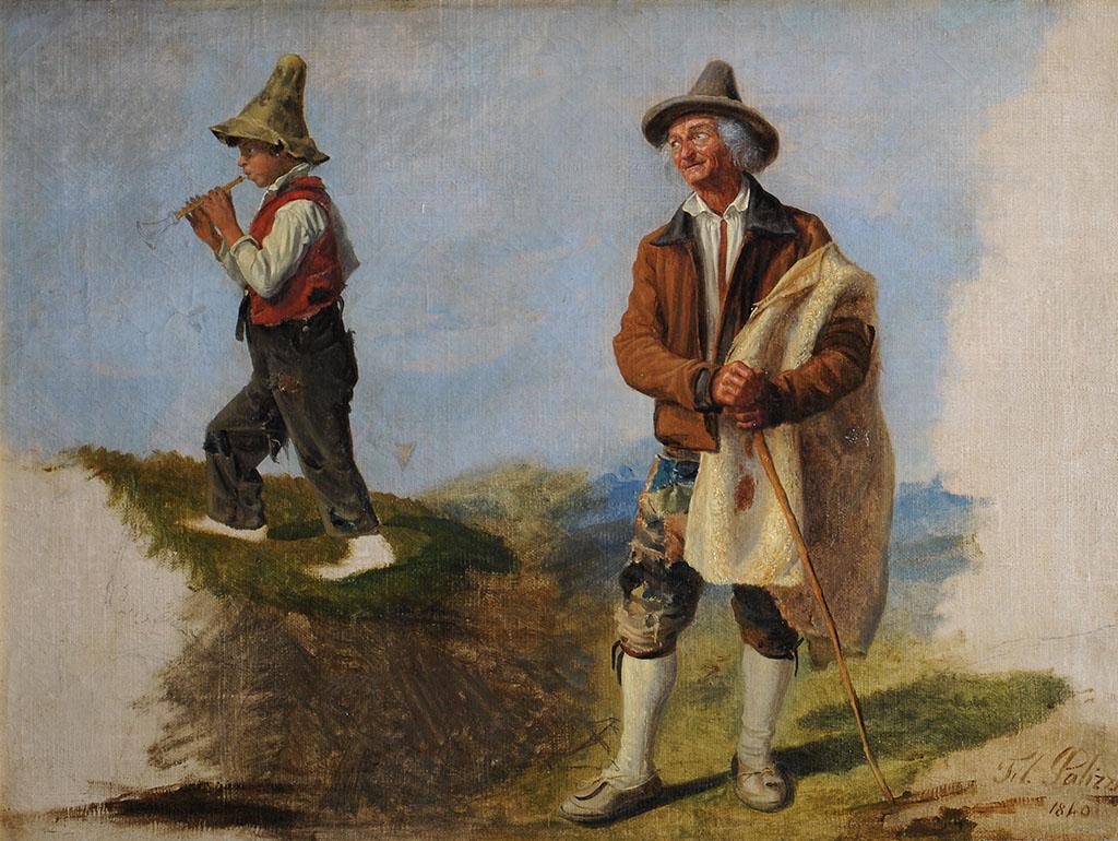 Кресетьянин с мальчиком, играющим на свирели пифферо